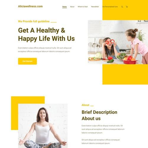 Aliciawellness.com landing page design concept