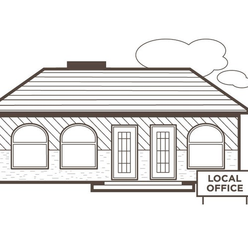 local office building one color illustration