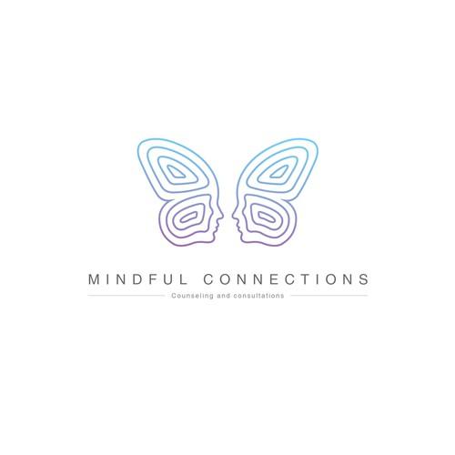 Feminine butterfly therapist logo