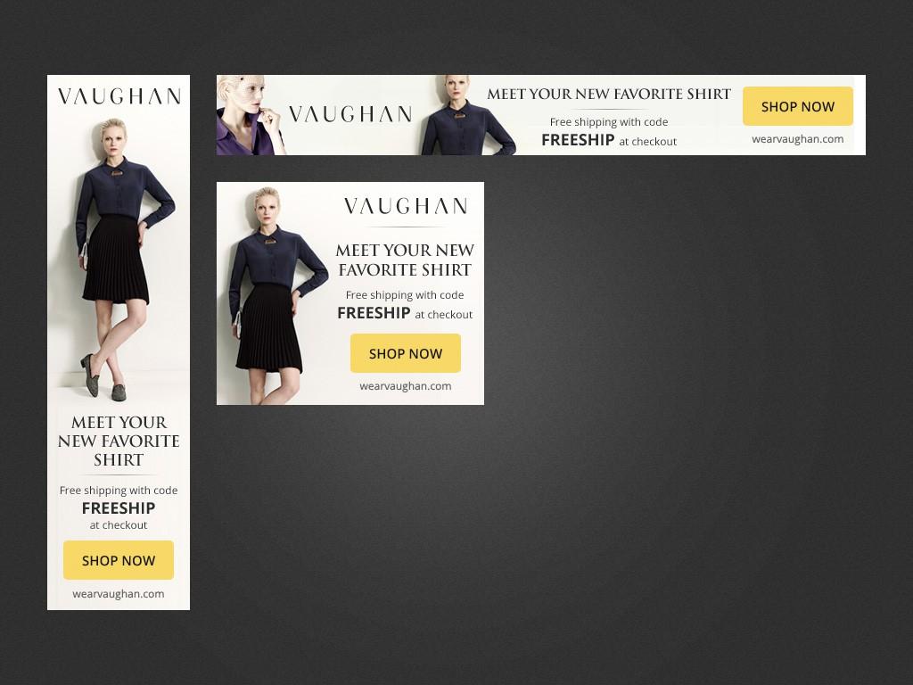 Create banner ads to advertise an indie women's fashion brand