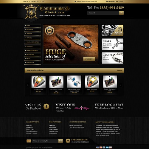 Design our men's gift (jewelry/cigars/poker/etc) homepage- Already know layout, need designer to implement