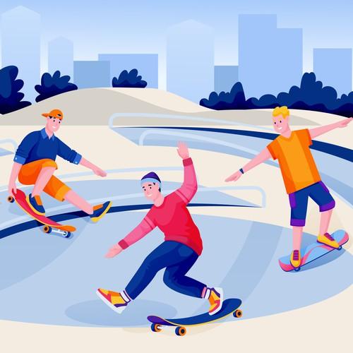 Illustration of skateboarders