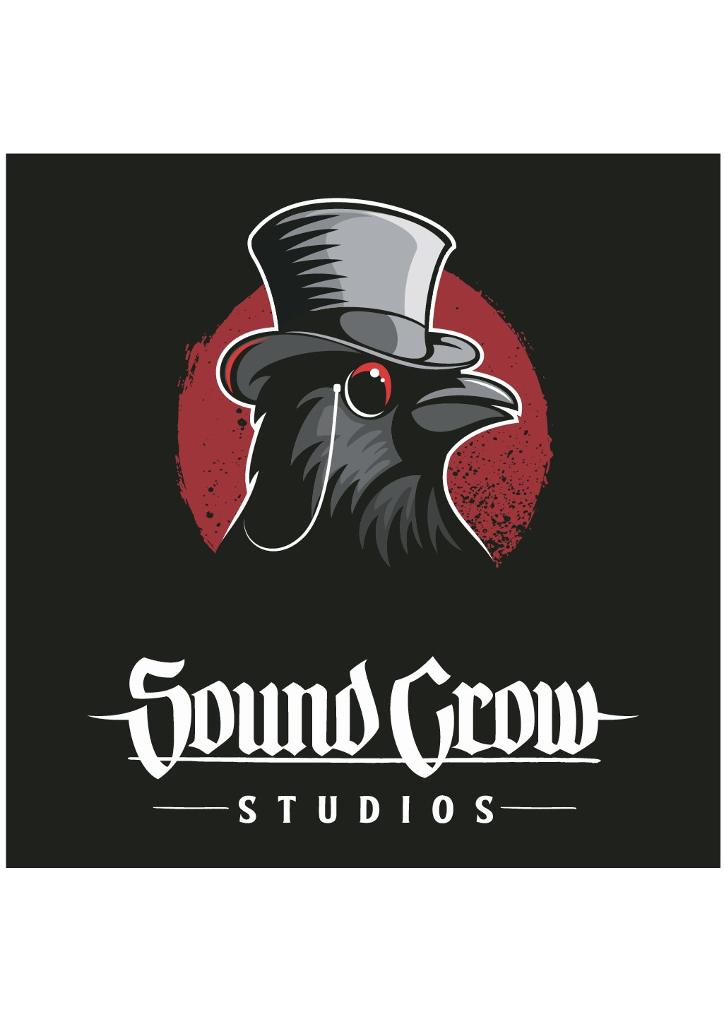 Original Crow Design with a top hat and eyeglass Edgar Allan Poe Vibe black and white
