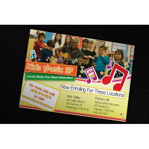 Kids Music SF Postcard Design