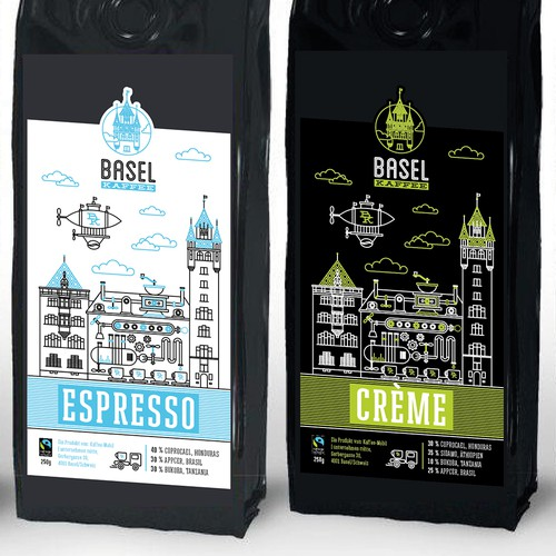 """""""Basel Kaffee"""" a new lable for the best coffee in town. Basel/Switzerland"""