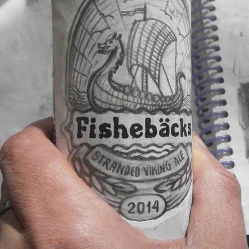 "Sketched beer label for ""Fiskebäcks bryggeriet"""