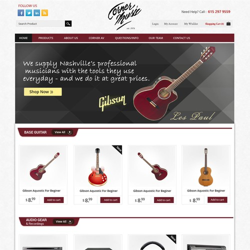 Homepage Design for Ecommerce Business - Music Instruments and accesorries Retailer