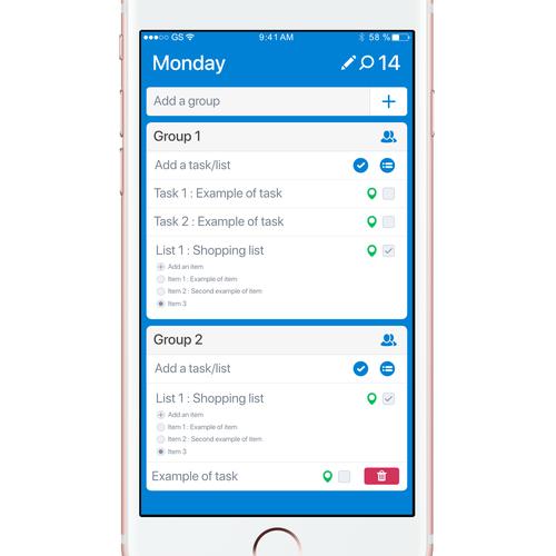 UI concept for Sharing Tasks application