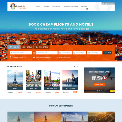 Web design for booking website