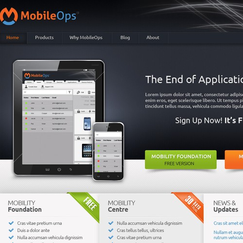 Create a new website design for MobileOps [5 pages]
