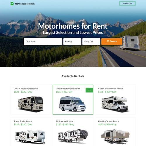 Website Design for Motorhome Rentals Website