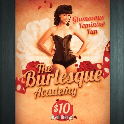 postcard or flyer for The Burlesque Academy