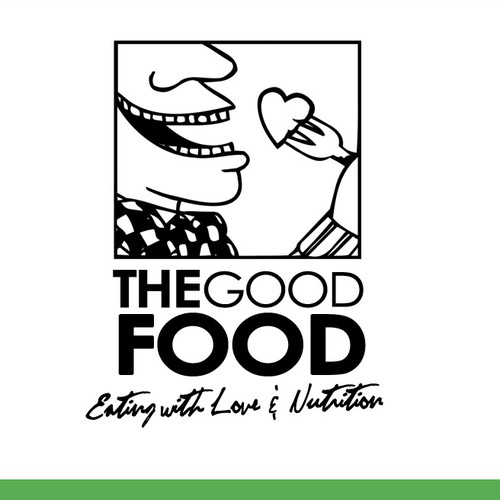 "Logo for a restaurant ""The good food - eating with love and nutrition"""