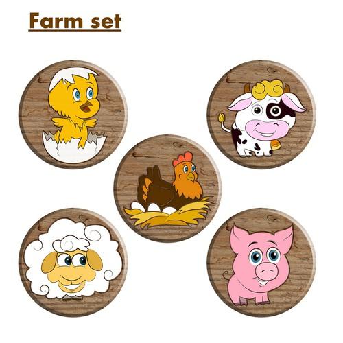 Cartoon animals.  Farm set