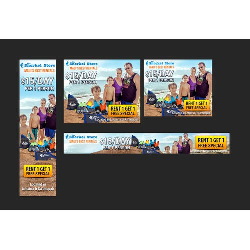 Create fun and engaging ads for snorkeling rentals. Design ads for The Snorkel Store a rental/retail store in Maui, Hawa