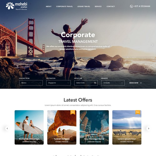Interactive website design for a Travel Agency.