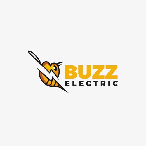 a logo for Buzz Electric with a bee and a lightning bolt!