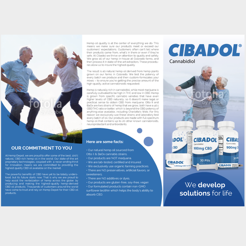 Brochure for Cibadol - High CBD Hemp Oil Products