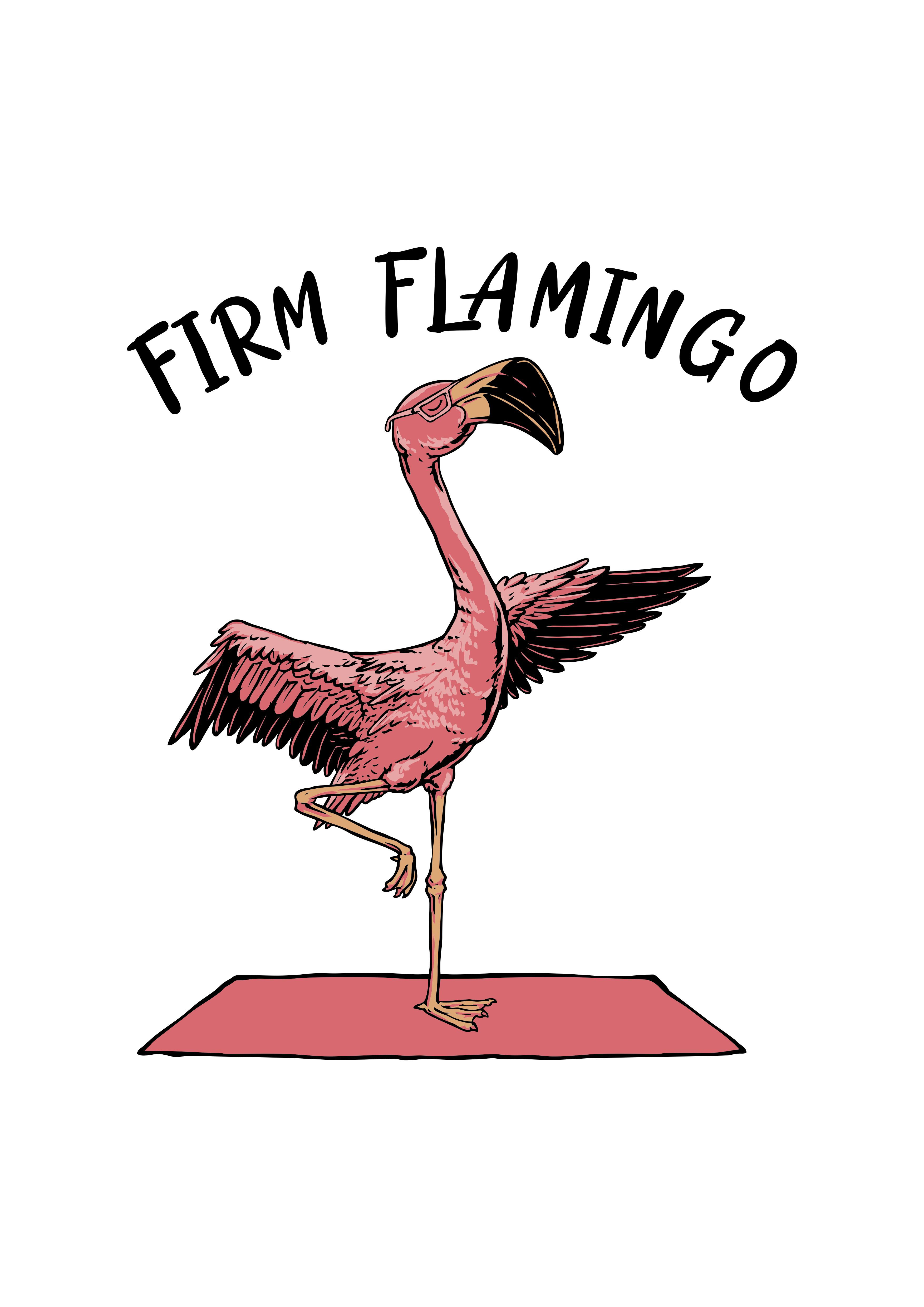 A cool Flamingo doing Yoga. Design a T-shirt for our fitness company.