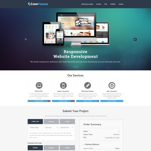 Nice landing page design for psd to html services website(NO CODING)