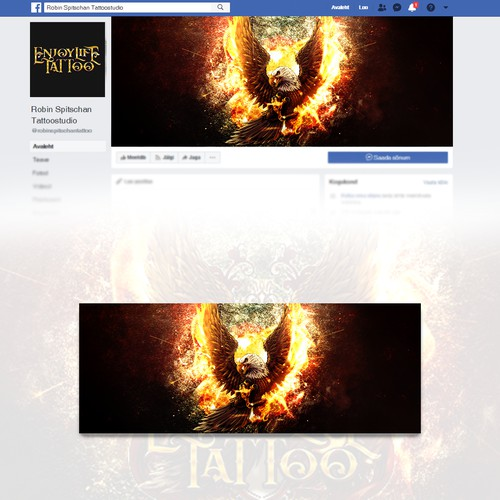 Facebook cover for a tattoo artist