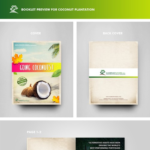 Create a tropical booklet for Coconut Plantation