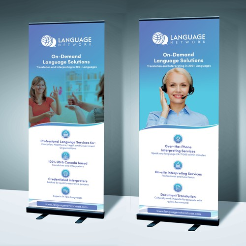 eye-catching and professional Trade Show Roll Up Banner for language network