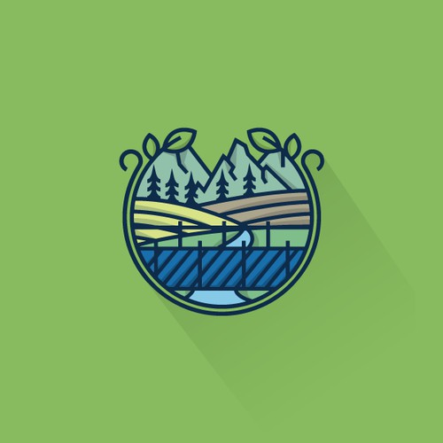 Thick line logo for Blue Bridge Farm