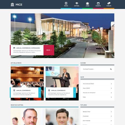 create a contemporary web design for an Event News-Portal
