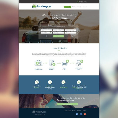 Landing page for fundmycar