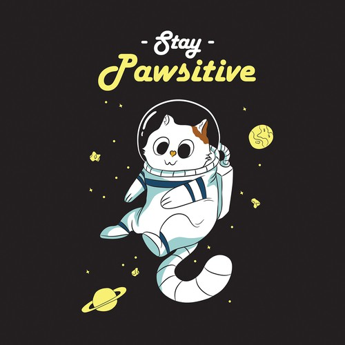 cute cat wearing a space suit or a just a space suit helmet floating in outer space