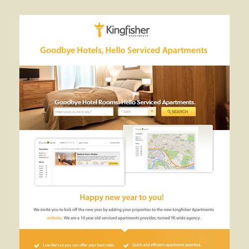 Create a winning email newsletter for Kingfisher Apartment UK Booking Agency