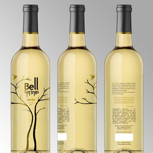 New product label wanted for Bell Springs Winery