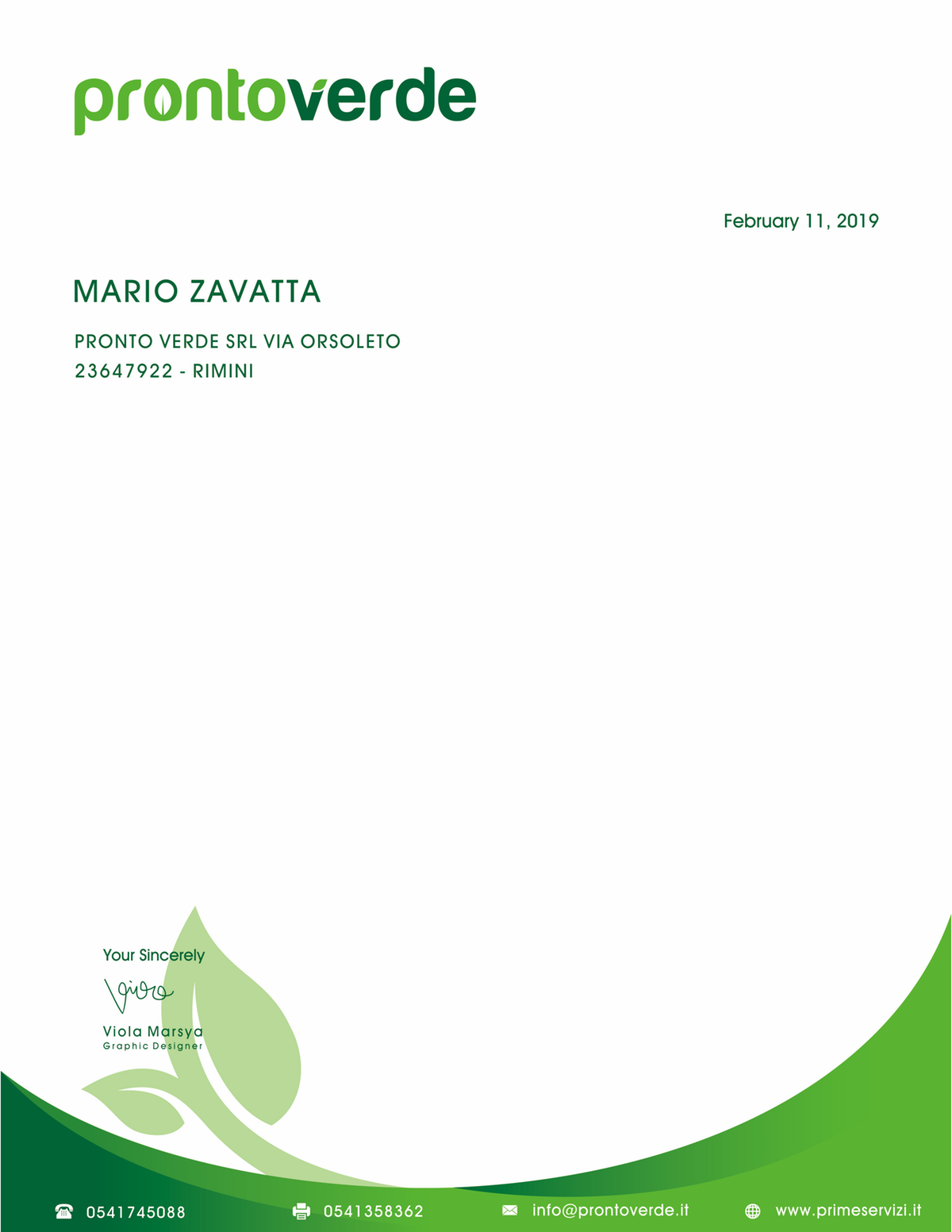 PRONTO VERDE : business cards and letterheads