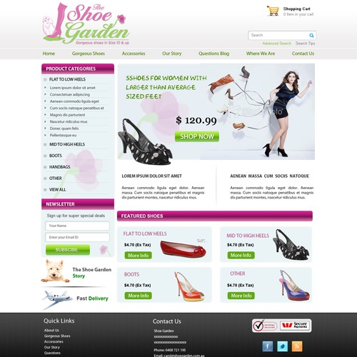 Shoe Garden needs a new website design