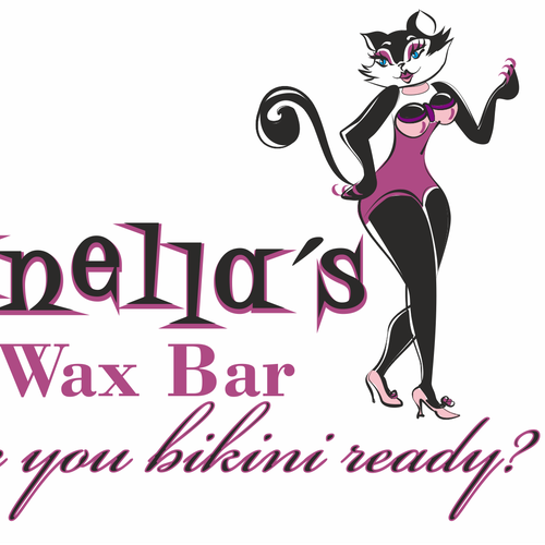Create a fun, sexy, sassy, silly kitty silhouette for Zanella's Wax Bar.