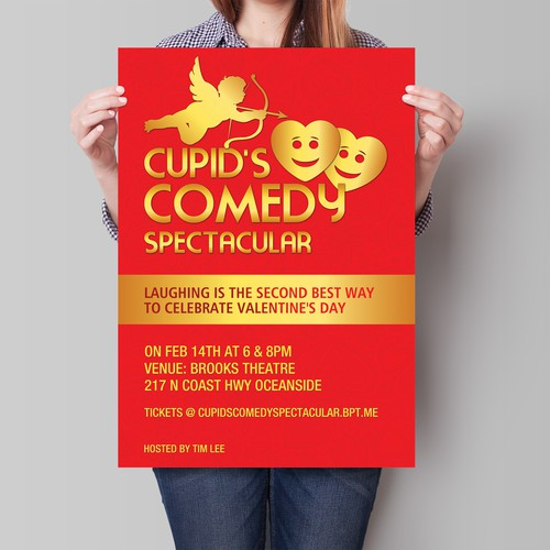 Create a poster for Cupid's Comedy Spectacular.