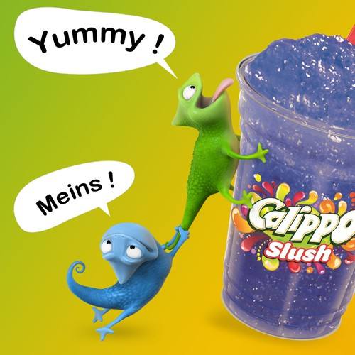 Mascots for a slush ice cream drink