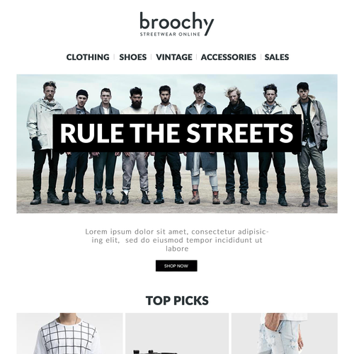 Design an email newsletter for Broochy