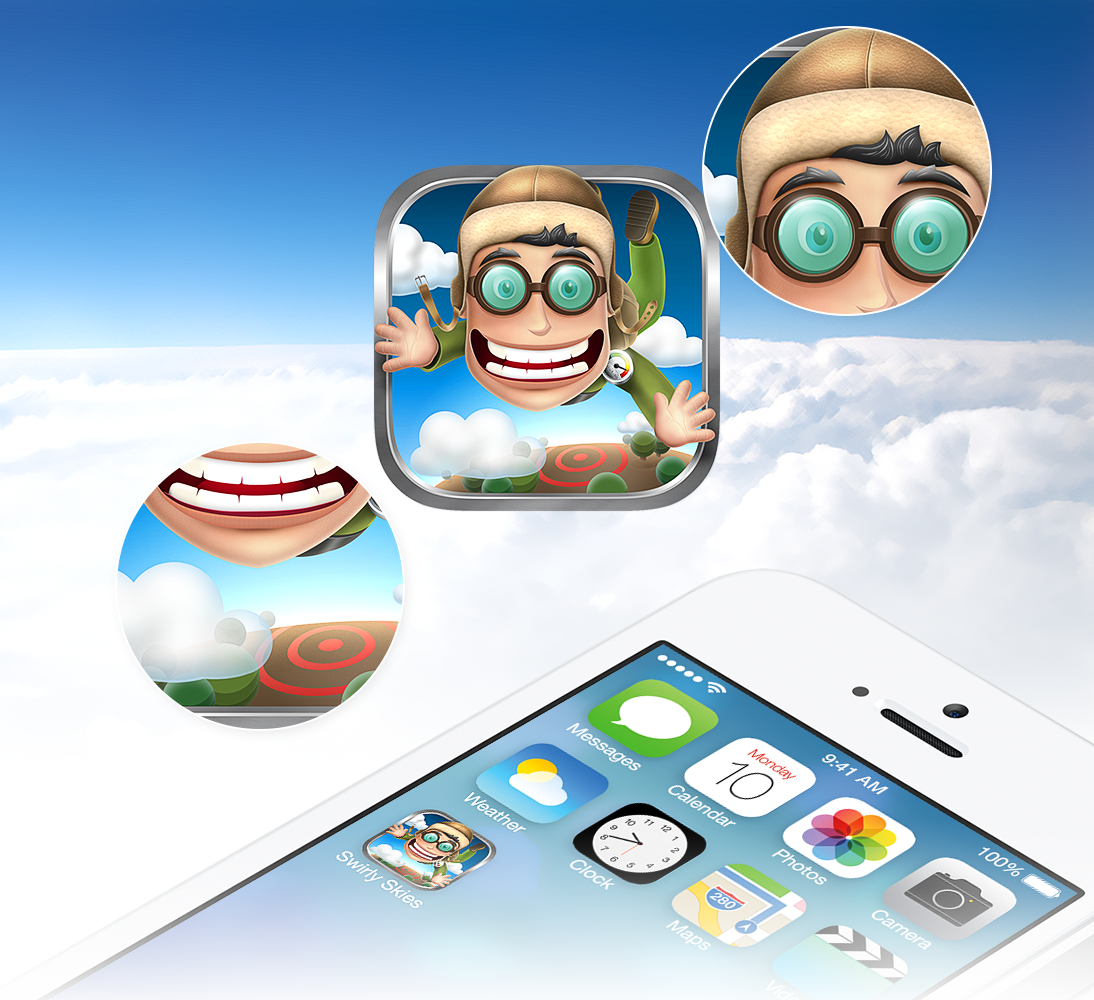 Create an awesome app icon for mobile skydiving game!