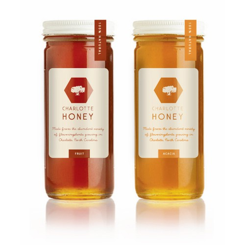 Label design for Charlotte Honey's honey jars