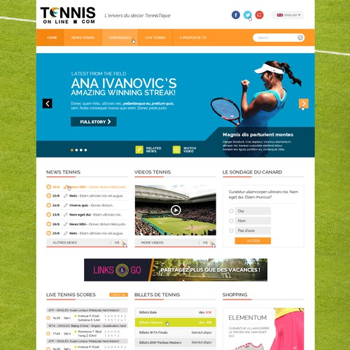 Tennis web design