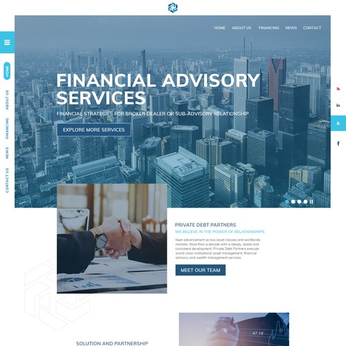 Web page design for financial advisory service