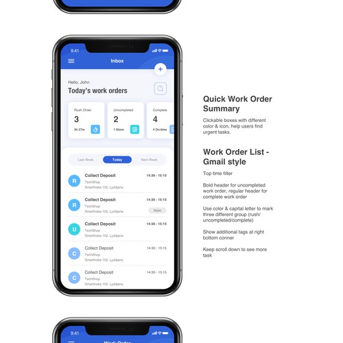 Work order management App design