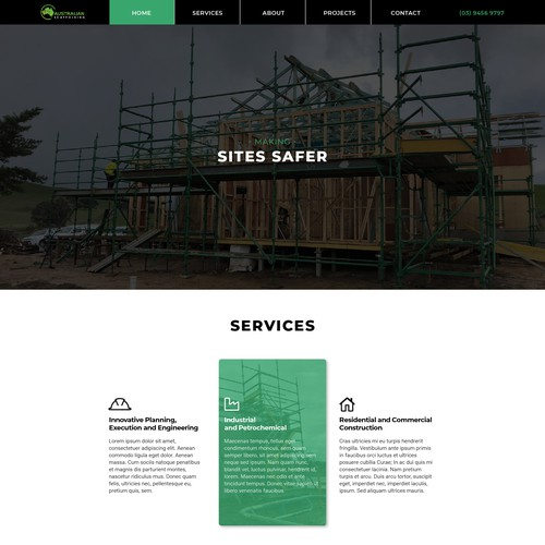 Sleek web design for Scaffolding company