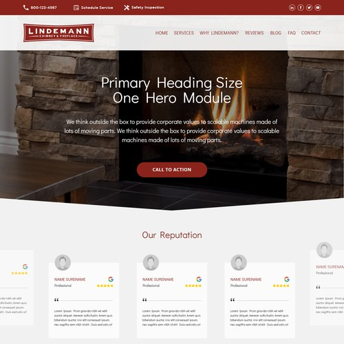 Home page template for regional chimney and fireplace company.