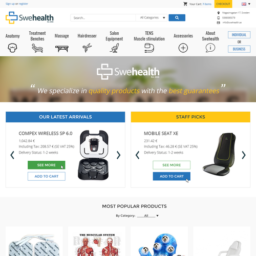 SweHealth online store redesign