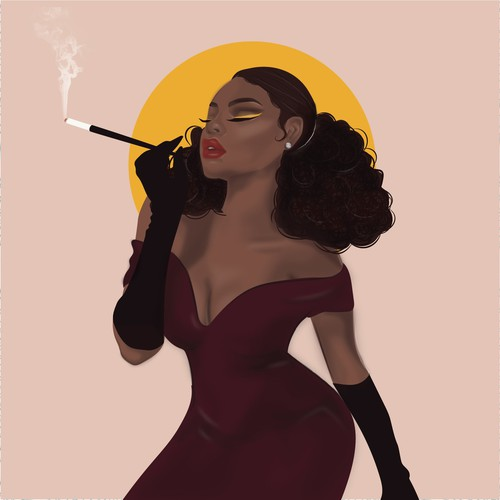 Hollywood Glam Woman Illustration