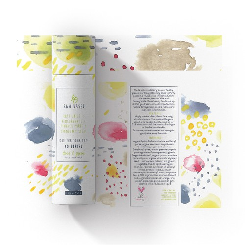 Energetic watercolour package for organic skincare