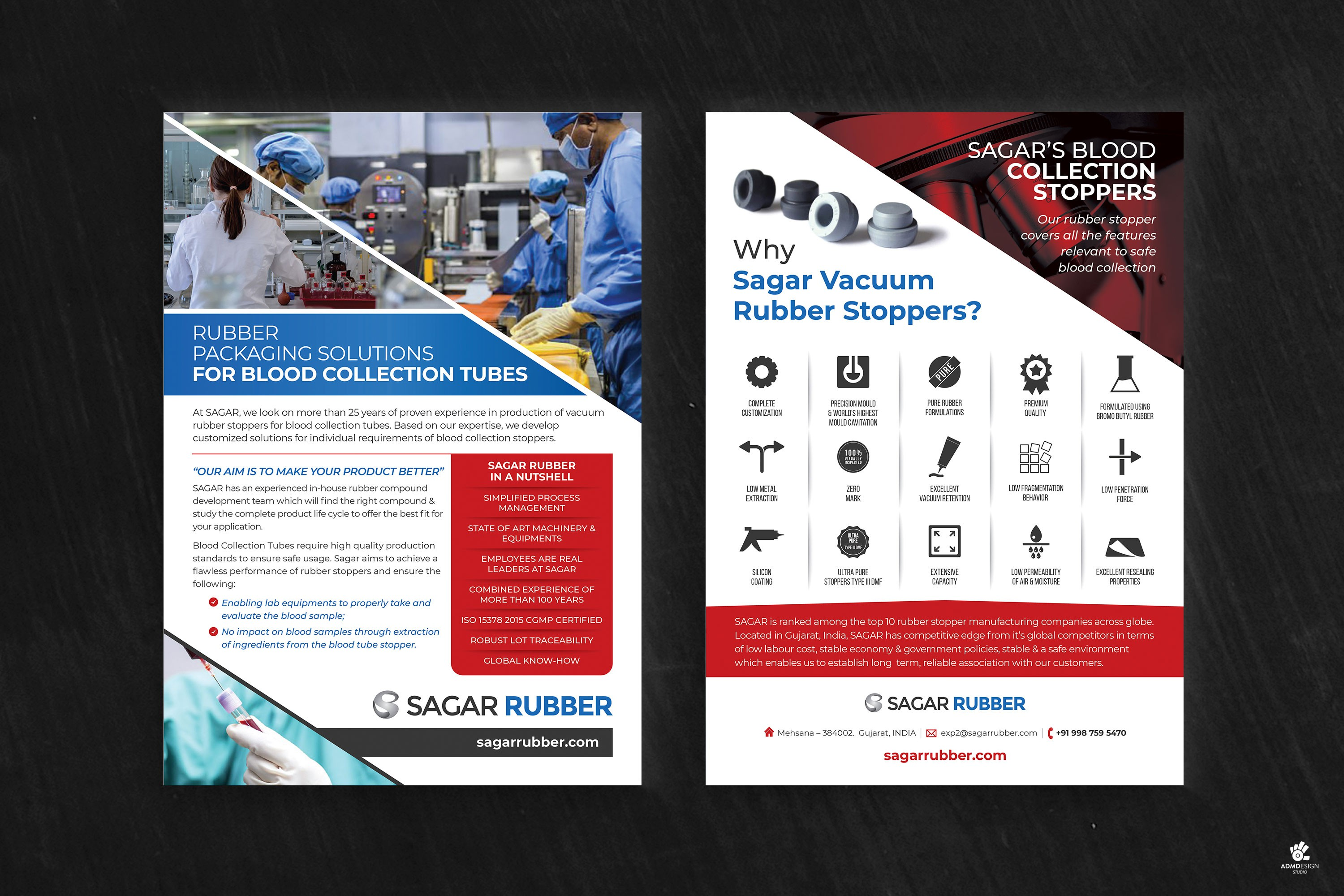 One Page leaflet design for Pharmaceutical Rubber Stopper Packaging